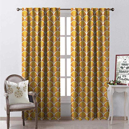 Sturbridge Mustard - Hengshu Art Deco Window Curtain Fabric Classical Geometric Ornament Repetitive Warm Tones Drapes for Living Room W120 x L108 Mustard Persian Orange and Pale Vermilion
