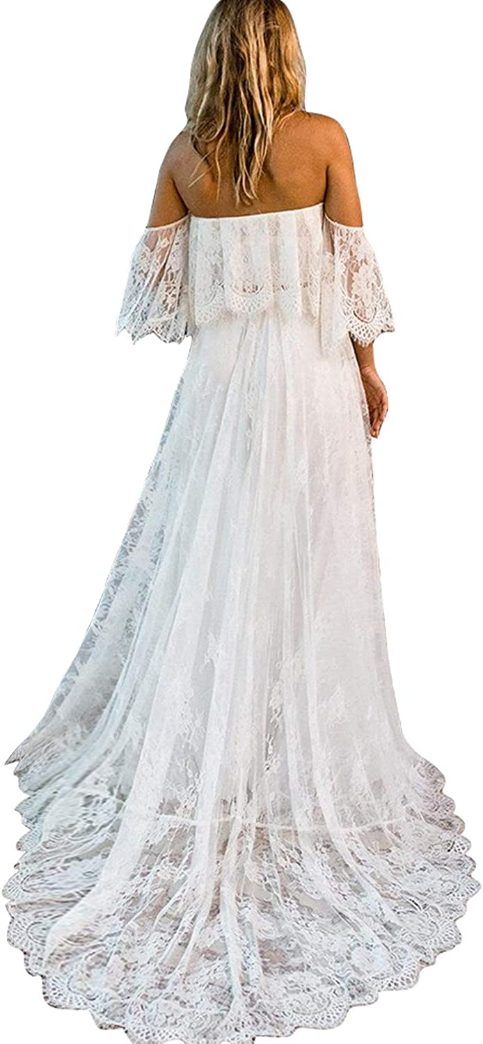 Newdeve Beach Wedding Dresses Off Shoulder Long Bohemia Lace Summer Bridal Dresses 2019 At Amazon Women S Clothing Store,Knee Length Fall Wedding Guest Dresses With Sleeves