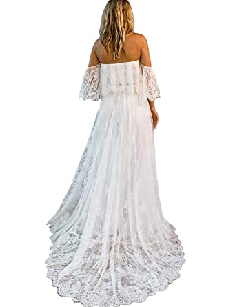 541ed415056b Newdeve White Off Shoulder Stripeless Simple Soft Lace Beach Wedding Dress  for Bride 2018 (White
