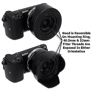 Fotodiox Reversible Lens Hood Kit for Sony E PZ 16-50mm F3.5-5.6 OSS E-mount Power Zoom Lens, Reversible Tulip Flower Hood w/Cap f/Sony Kit Lenses (Color: Black)