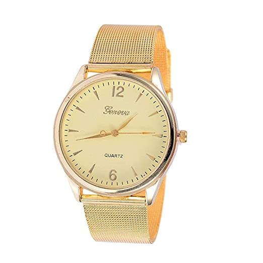 Reloj de pulsera para mujer Marca Golden Simple correa ultrafina Cinturón de malla Crystal Quicksand Beads