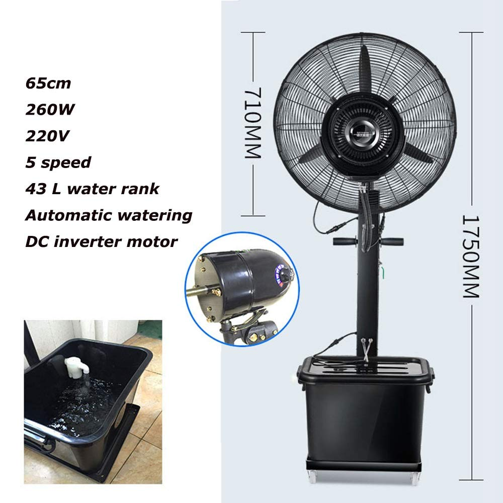 JIAYUAN Fan Pedestal Fans Industrial Fan, Oscillating Misting Fan, with Leakage Protection Device,5 Speed,Automatic Watering Suitable for Outdoor, Factory, Shopping Mall 260W,350W (Color : 71cm) by JIAYUAN