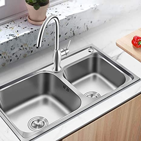 Amazon.com: Kitchen Sink 2 Bowl Square Stainless Steel ...