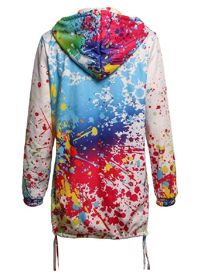 YIhujiuben Womens Long Sleeve Splashing Ink Print Sweatshirt Hoodies Blazer Jacket