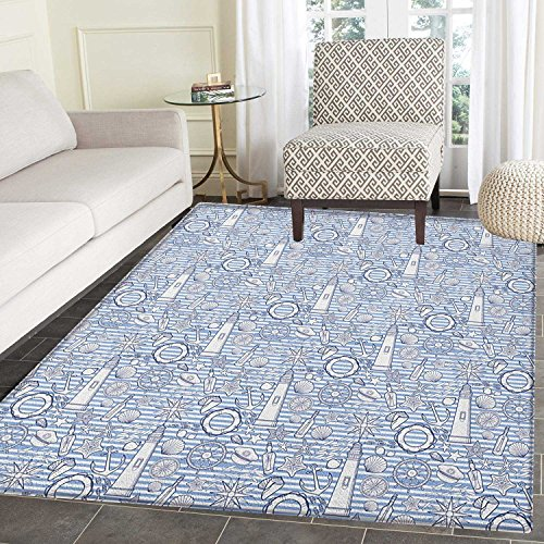 Nautical Area Rug Carpet Nautical Collection Ocean Seashell Bottle Compass Lifebuoy Fish Starfish Marine Living Dining Room Bedroom Hallway Office Carpet 5'x6' Blue White