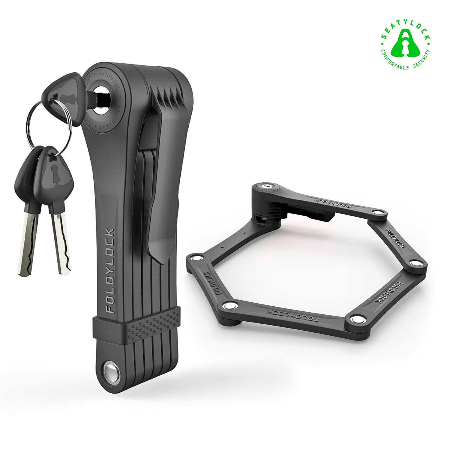 Foldylock Clipster Folding Bike Lock Wearable Compact Bicycle Lock Heavy Duty Fold Bike Lock Anti Pick Bike Folding Lock with Key Set Weight 2.2lb