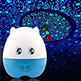 LIWUYOU Creative Lovely Pig Shape USB Projection Lamp Star LED Projector Night Light with Speaker Remote Control,Blue Green Red 3 Colors Changing ,Blue