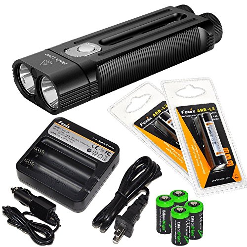 FENIX LD50 1800 Lumen Dual CREE XM-L2 LED slim Flashlight with 2 x Fenix ARB-L2 2600mAh Li-ion rechargeable batteries, 4 X EdisonBright CR123A Lithium batteries, Fenix ARE-C1 18650 batery charger, in-car Charger adapter package