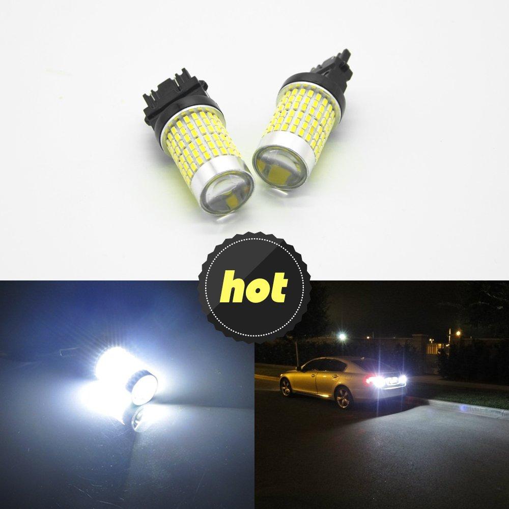 2 x 3157 144 4014SMD Xenon Blanco 3056 3156 3057 4157 Canbus LED Bombillas con proyector para copia de seguridad luces, luz de los intermitentes, ...