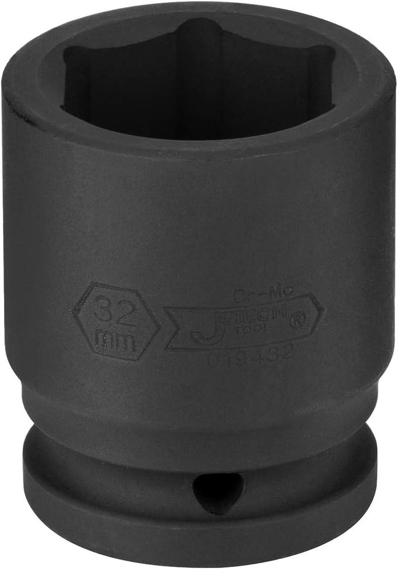 Standard Impact Socket with 6-Point Design Jetech 3//4 Dr 32mm Impact Socket Metric Chrome Molybdenum Alloy Steel