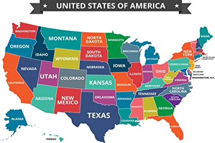 Amazon.com: Multi Colored Map of The United States USA ...
