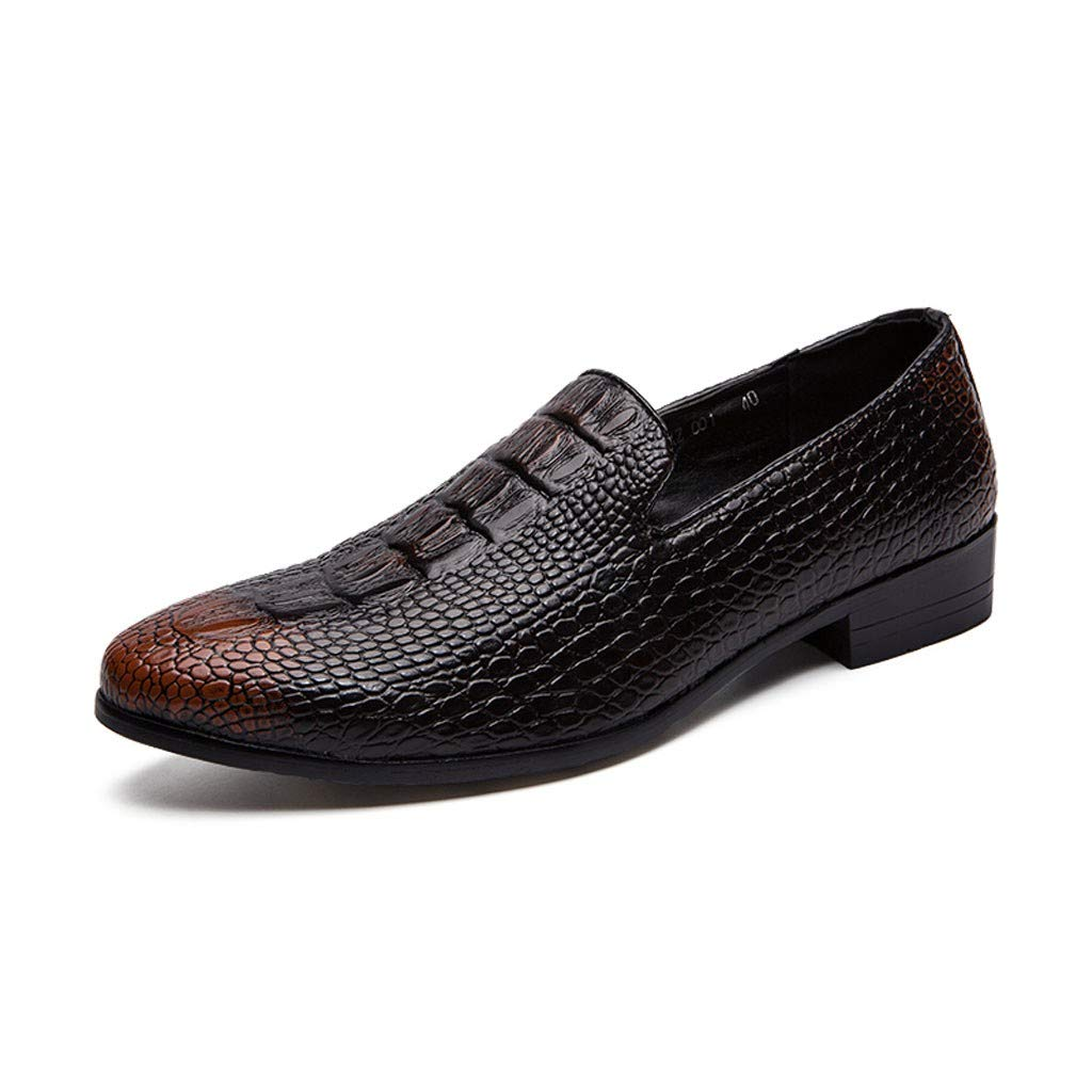 Men's Oxford Sneaker Dress Shoes-Men Business Men's Crocodile Leather Shoes Pointed Sets of Feet Youth Trend Shoes