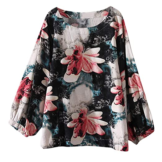 33437758b2e535 Women's Tops Women's Plus Size Boho Pattern Print Long Sleeve Crew Neck  Linen Blouse Loose Shirt