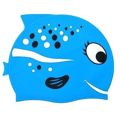Adallor Bonnet de Bain en Silicone pour Enfant, Dessin Animé Poisson de Kid en Forme de Bonnet de Piscine pour les Garçons et les Filles