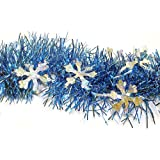 F.C. Young Unlit Blue Christmas Tinsel Garland with Silver Holographic Snowflakes, 12'