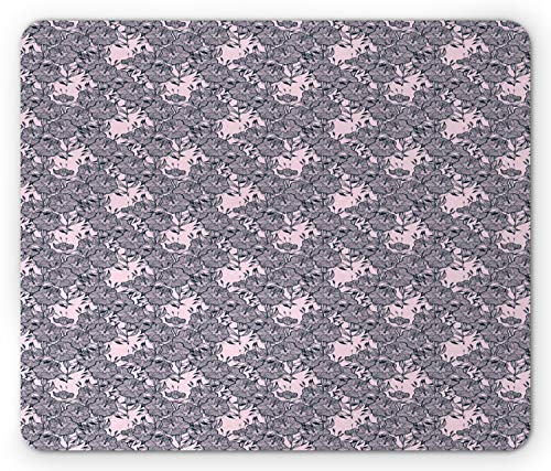 Ambesonne Floral Mouse Pad, Vintage Style Bindweed Flower Bells Natural and Scented Elements, Standard Size Rectangle Non-Slip Rubber Mousepad, Dark Petrol Blue Pale Mauve