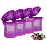 Maxware 4 Reusable K Cup Coffee Filters For Keurig Family 2.0 and 1.0 Brewers Fits K200, K300/K350, K400/K450/K460, K500/K550/K560 (Purple, 4)