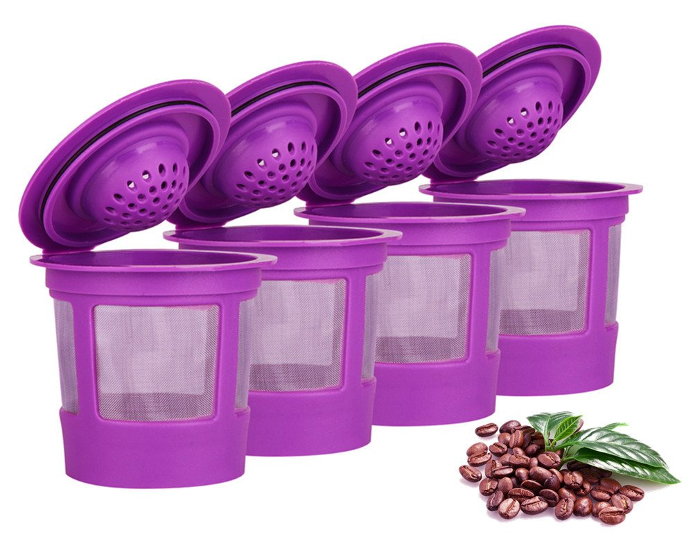 4 Reusable Refillable Coffee Filters For Keurig Family 2.0 and 1.0 Brewers Fits K200, K300/K350, K400/K450/K460, K500/K550/K560 (Purple, 4)