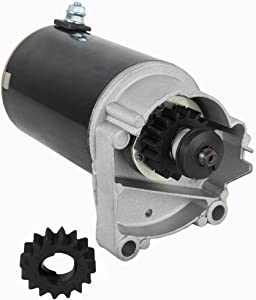 Rareelectrical NEW HIGH TORQUE BRIGGS & STRATTON STARTER MOTOR COMPATIBLE WITH 399928 495100 498148 FREE GEAR