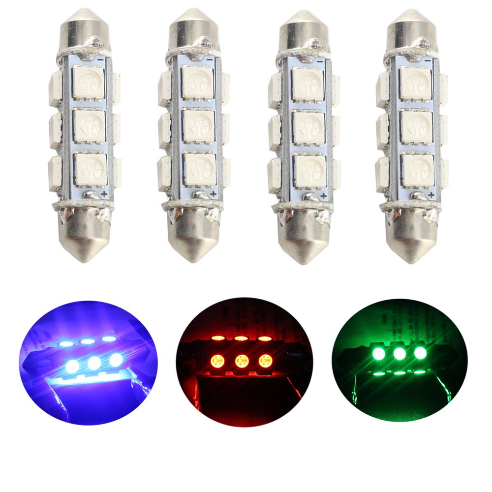 GrandviewTM Super Bright Red LED 44mm 5050-12-SMD 12V Festoon Bulbs Car Interior Dome/ Map/ Door light 211-2 212-2 569 578 (pack of 4) FS0024-41mm
