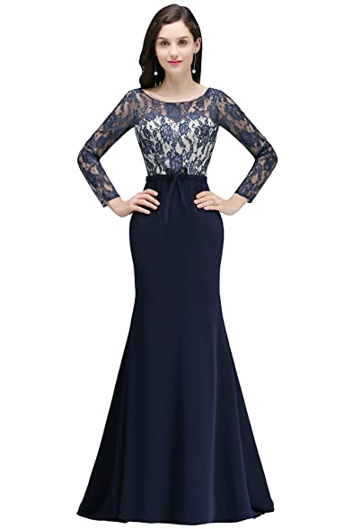 MisShow Elegant Lace Long Sleeve Formal Mermaid Evening Prom Gown ...