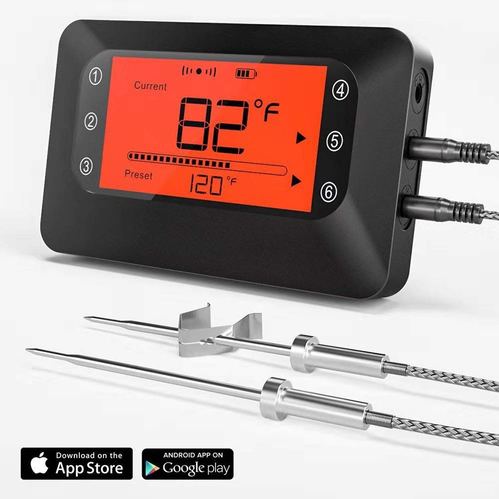 BFOUR Wireless Meat Grill Thermometer, Bluetooth Digital Wireless Meat Thermometer for Grilling Smoker BBQ Oven Kitchen Cooking with 2 Stainless Probes, Smart Instant Read, Phone App Remote