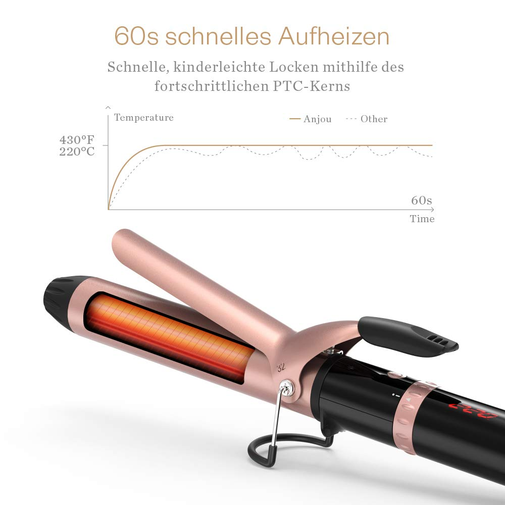 Rizador de pelo 32 mm, Anjou rulos con calor Rueda de control, rizador de peluquería con verbrennsicherer aislado Punta, 120 °C hasta 220 °C para todos los ...