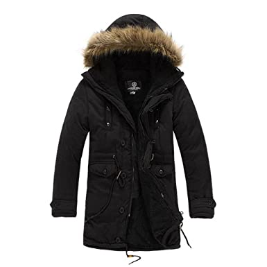 fadfca5849e Men's Luxury Faux Fur Long Winter Trench Coat Jacket Hooded Parka Overcoat  (M/Asia Tag XXL, Black)