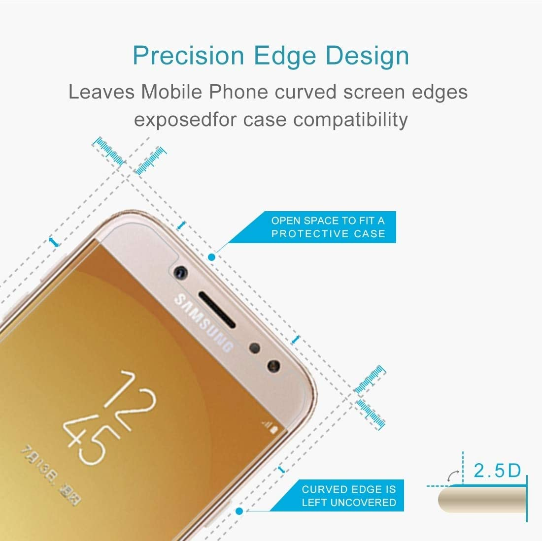 EU Version 0.26mm 9H Surface Hardness 2.5D Explosion-Proof Non-Full Screen Tempered Glass Screen Film 2017 GzPuluz Glass Protector Film 100 PCS for Galaxy J7