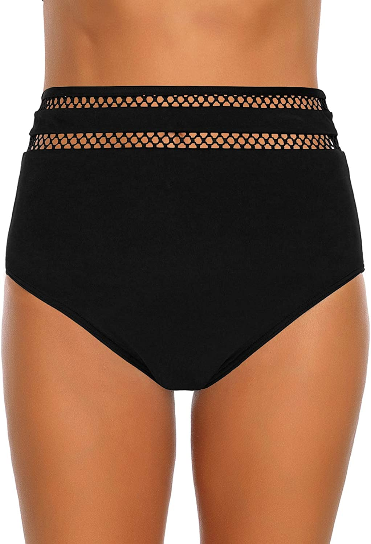 GRAPENT Womens High Waisted Swim Bottom Ruched Bikini Tankini Swimsuit Briefs