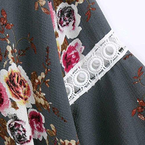 Cardigan Malloom Kimono Manteau Cape Gris pour en Femme dcontract Veste Florale Ouverte Dentelle 8HBvP6