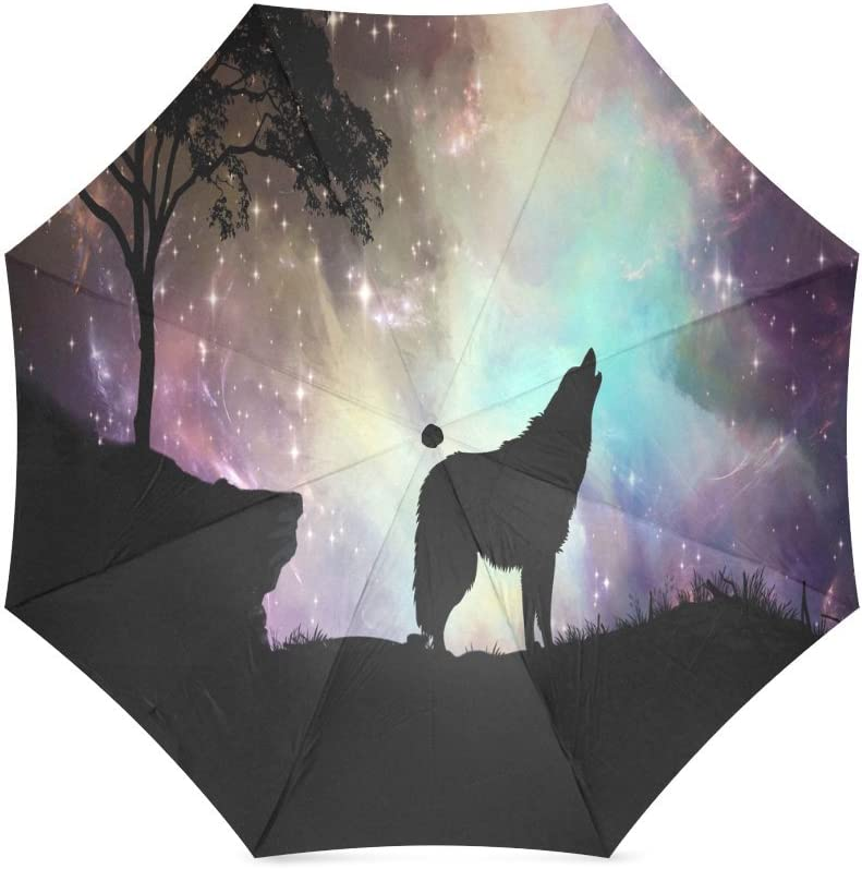 Cool Wolf Folding Rain Umbrella Parasol Windproof Travel Sun Umbrella Compact