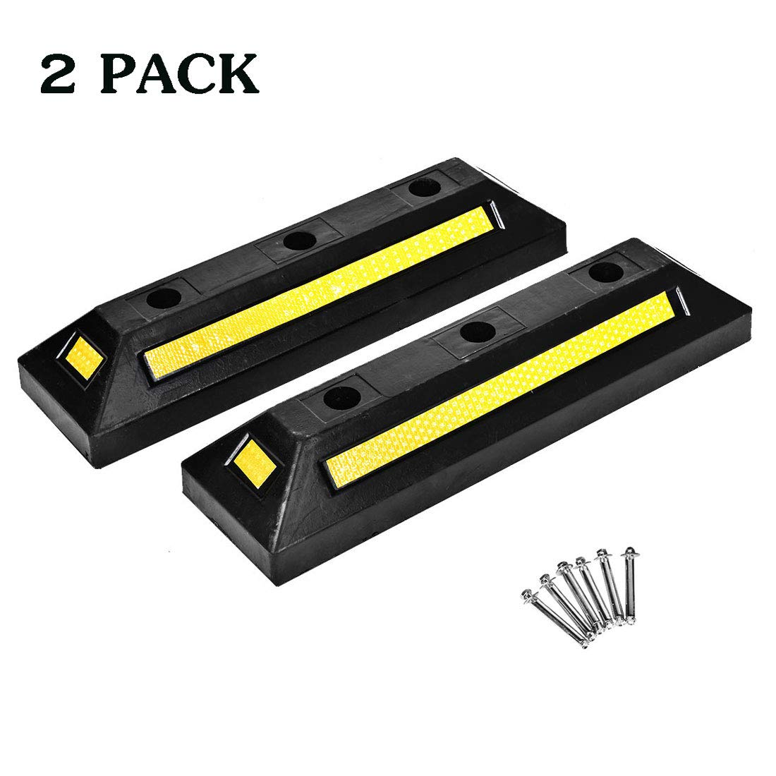 Cozylifeunion 2 Pack Heavy Duty Rubber Parking Blocks Curb Guide Car Garage Wheel Stop Stoppers for Car, Truck, RV, Trailer, and Garage