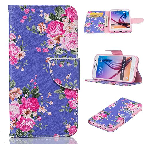 Galaxy S6 Case, Firefish Synthetic Leather Wallet [Card Slots] Kickstand Magnetic Clip Non-Slip Shock Absorption Bumper Shell Perfect Fit for Samsung Galaxy S6 -Purple Flower
