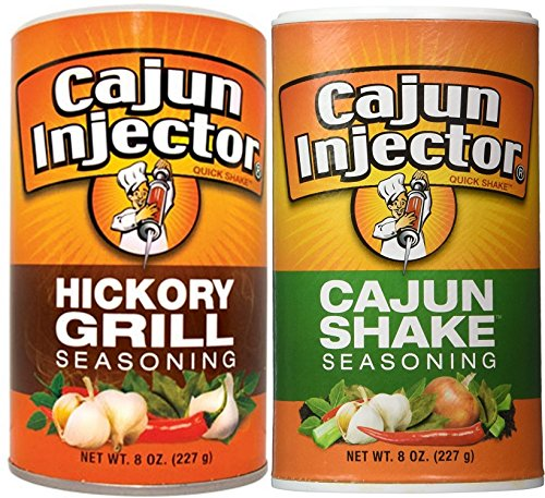 2 pack - Cajun Injector Shake Bundle ,Cajun Injector Shake Seasoning 8oz Canister and Cajun Injector Hickory Grill Shake Seasoning 8oz Canister Quick Shake (Deep Fried Turkey Injector)