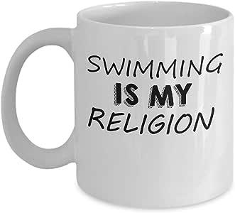 Amazon.com: Funny Swimming 11oz Coffee Mug - Swimming Is ...