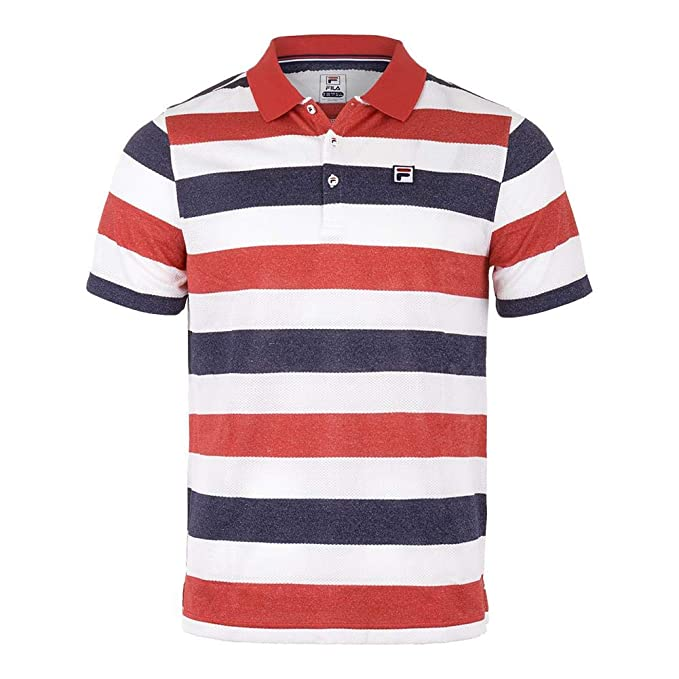 f8a920a4 Fila-Men`s Heritage Striped Tennis Polo-(723567958385): Amazon.ca ...