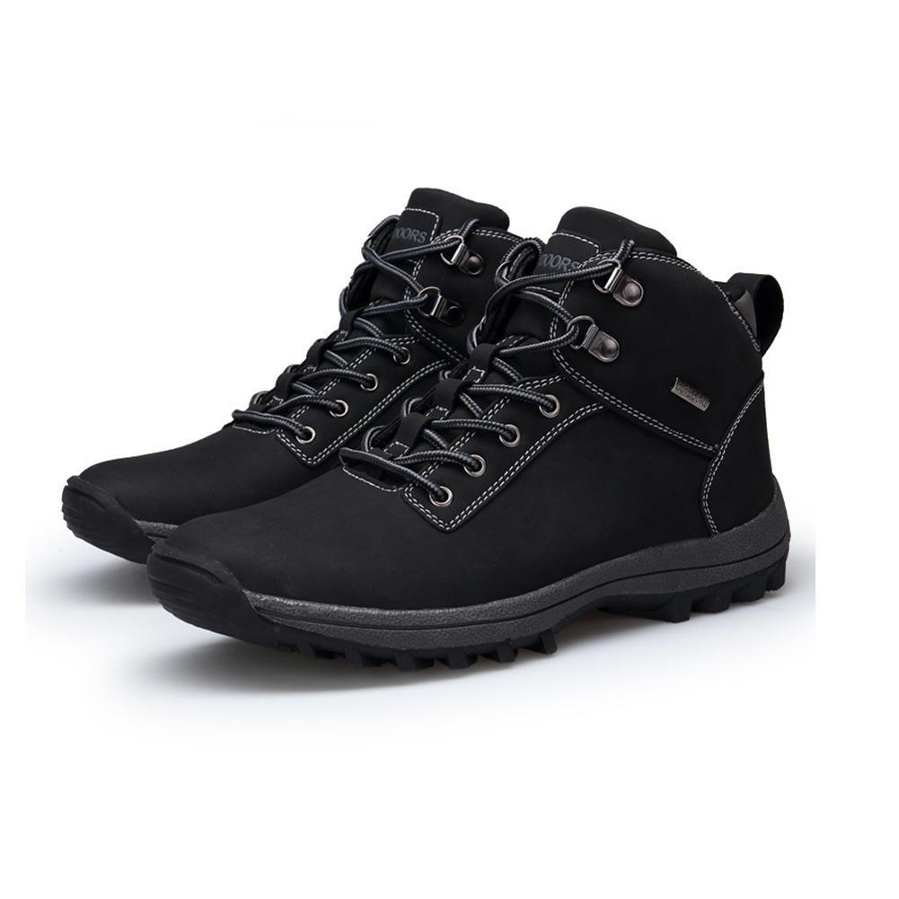WDGT Herren Draussen Clinchen Stiefel Original Leder Schnüren Wasserdicht Rutschfest Schuhe Leicht Dauerhaft zum Laufen Reisen Trekking Wandern Gehen Sport