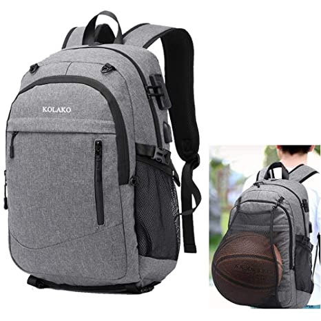 Men Waterproof Sport Basketball Backpack Travel USB Port Laptop Bag for Students