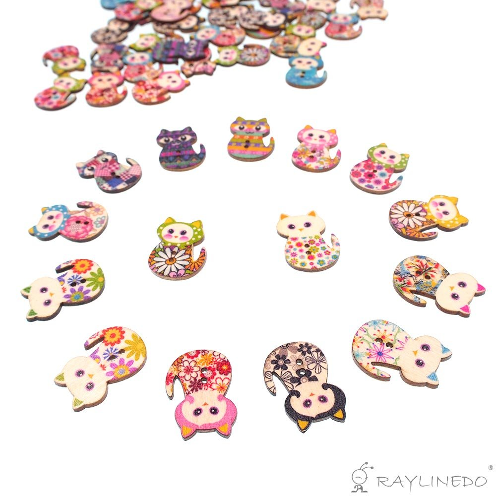 RayLineDo/® About 100pcs Buttons Multi Color Beautiful Cute Cat Shape Delicate Wood Buttons DIY Buttons for Sewing and Crafting