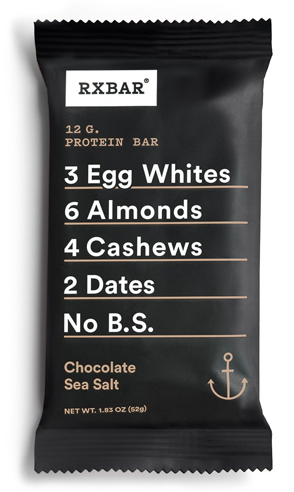 RXBAR Whole Food Protein Bar, Chocolate Sea Salt, 1.83oz Bars, 12 Count