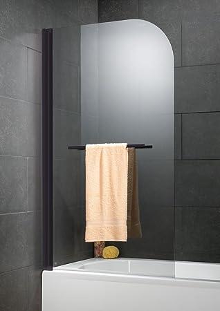 Schulte mampara para bañera 80 x 140 cm, plegable mampara de bañera con toallero, pantalla de bañera 1 contraventana, cristal transparente, perfil negro: Amazon.es: Bricolaje y herramientas