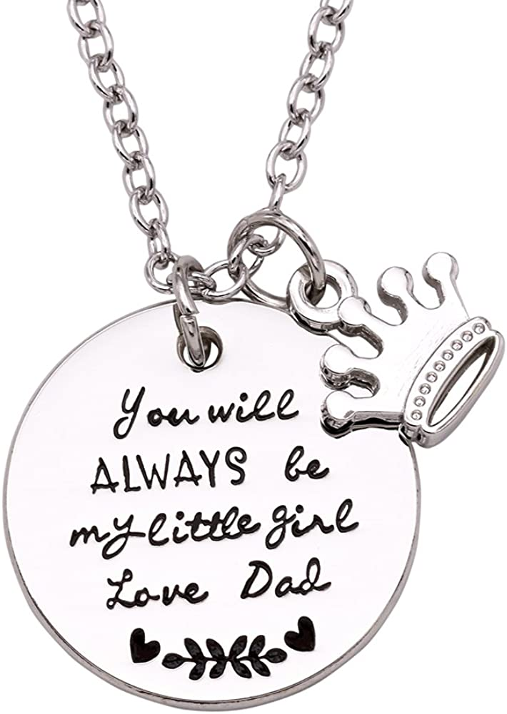 Melix Home Gift for Daughter Necklace from Mom Dad, You'll Always Be My Little Girl Necklace