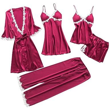 ac9d1feccfd57 Lot de 5 Vêtement de Nuit Femme Ensemble de Lingerie Set Femme Robe  Cardigan Chemise Nuit