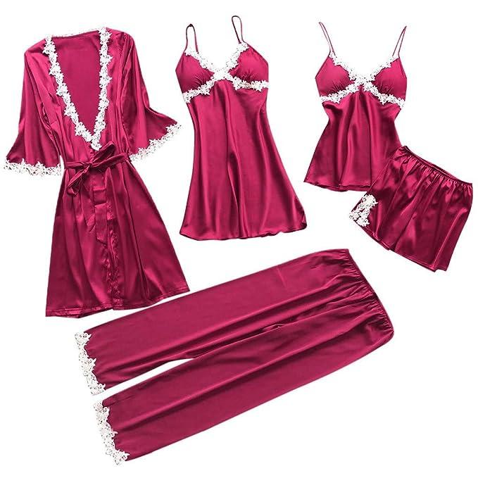5bbb7c2b89 TIFIY Sexy Conjuntos Cinco Vestido Mujer Erótico Lace Talla Grande Lenceria  Babydoll Interior Ropa de Dormir Floral de Encaje Cuello en V Camisión  Pijama  ...