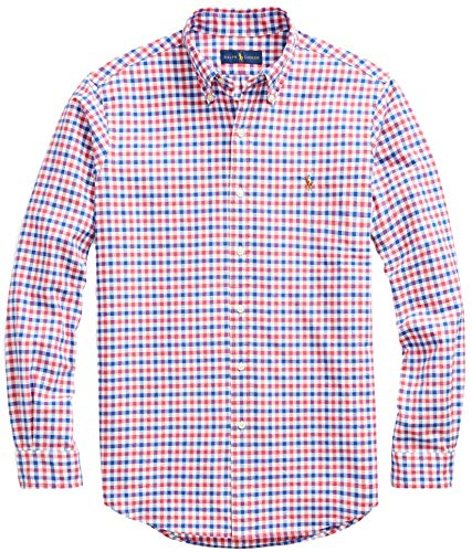Ralph Lauren Men Solid Sport Oxford Shirt (XL, RubyBlueCheck)