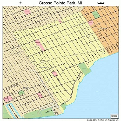 Grosse Point Michigan Map.Amazon Com Large Street Road Map Of Grosse Pointe Park Michigan