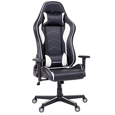ModernLuxe Ergonomic Executive Office Chair High Back Swivel Racing Style Gaming Chair PU Leather with Lumbar Support and Headrest White and Black