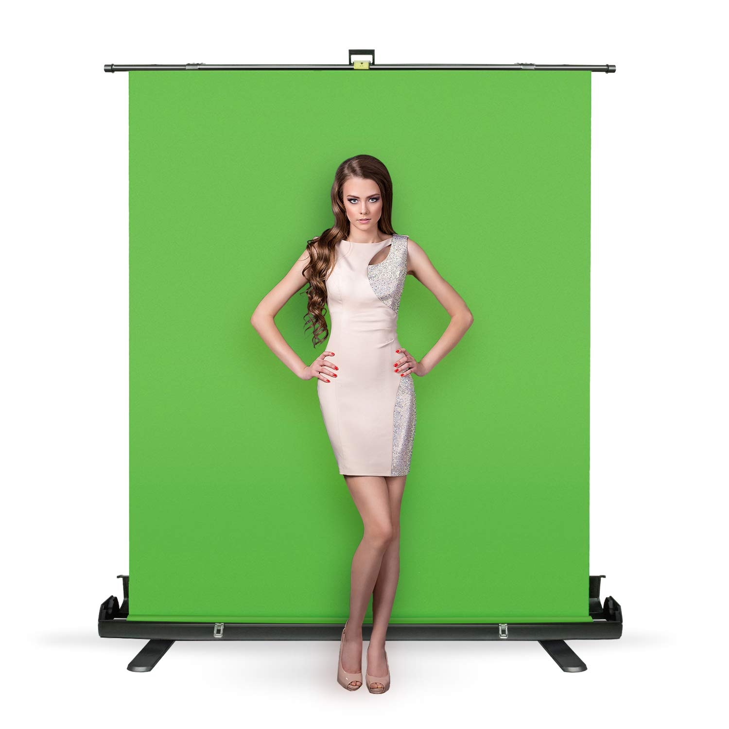 Julius Studio Collapsible and Retractable Green Chromakey Screen with Built-in Aluminum Case, Photo Video Studio, JSAG445