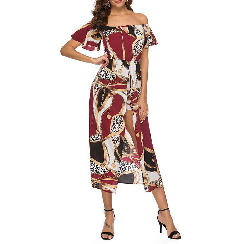 d57f8ad92662f Amazon.com: Women Bohemian Dress Sexy Off Shoulder Floral Print ...